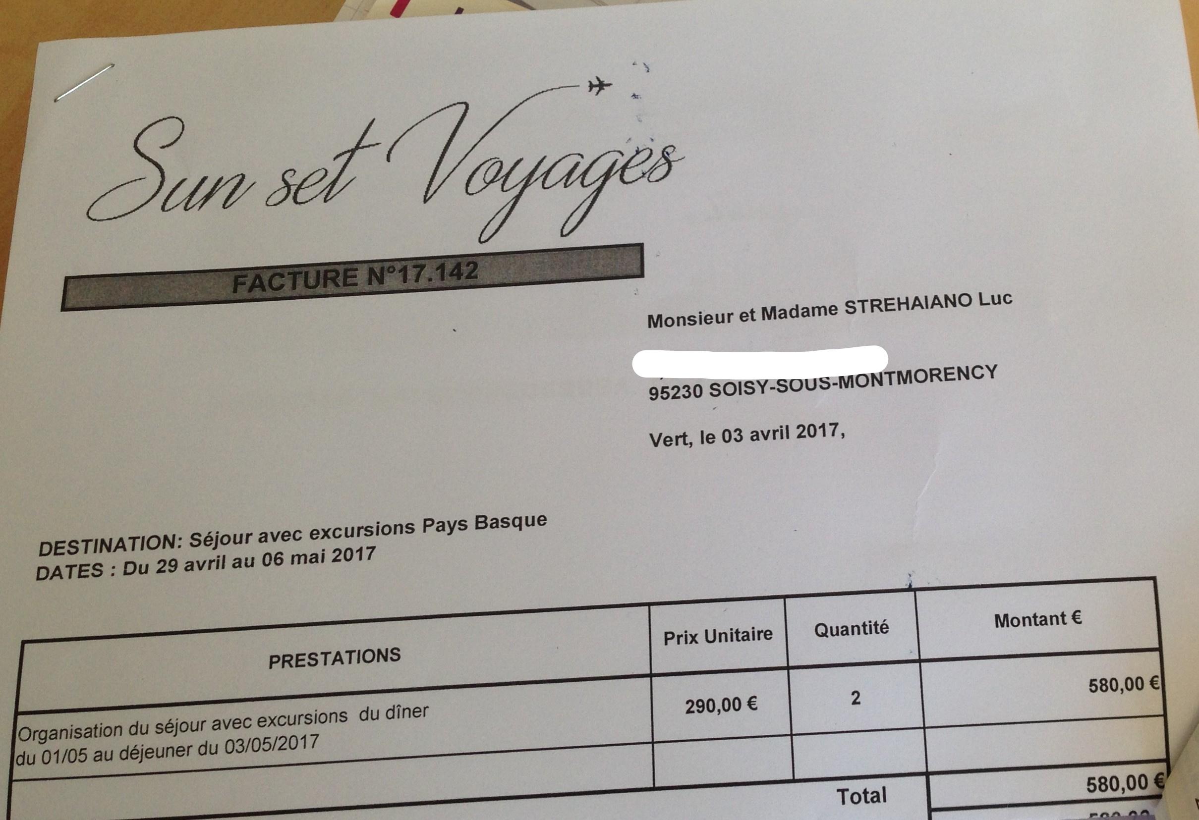 facture séjour pays bas Monsieur et Madame Strehaiano