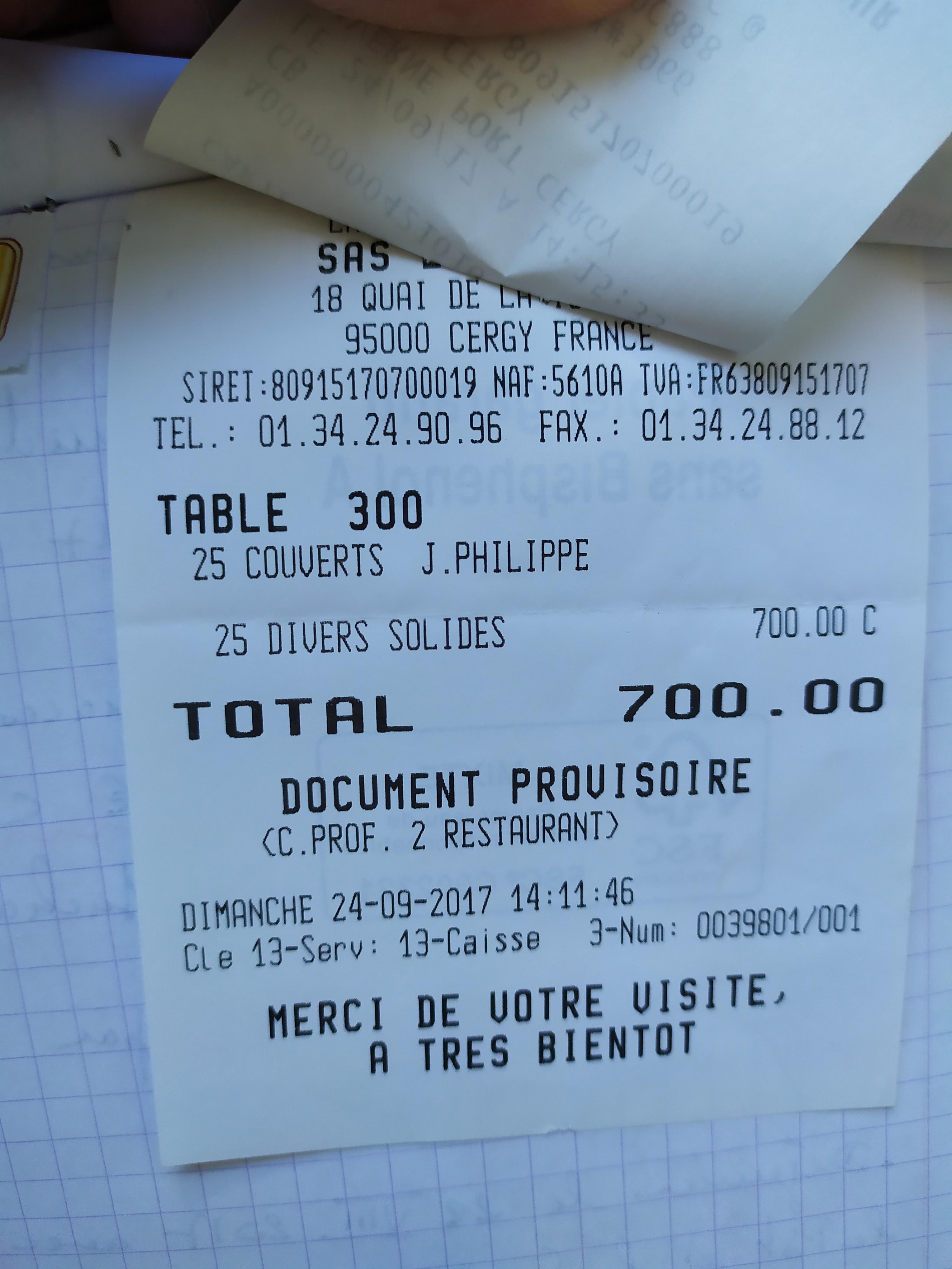 repas a 700 euros